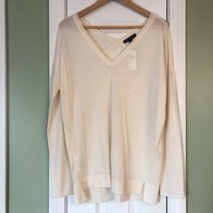 Ann Taylor 100% Cashmere Thin Ivory V-Neck Sweater